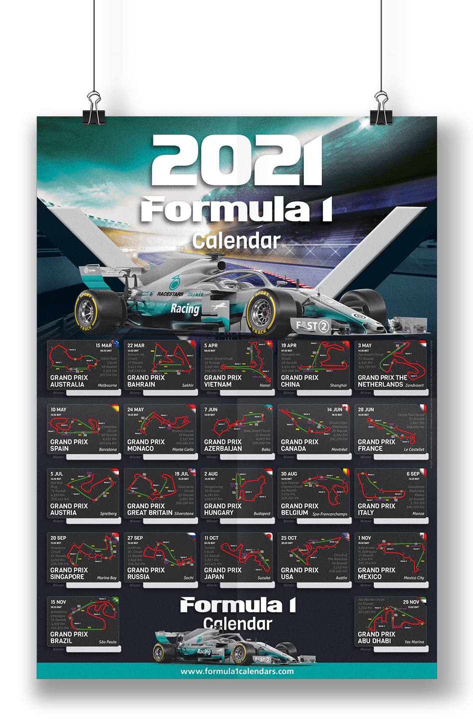 Starting times formula1 timeschedule poster