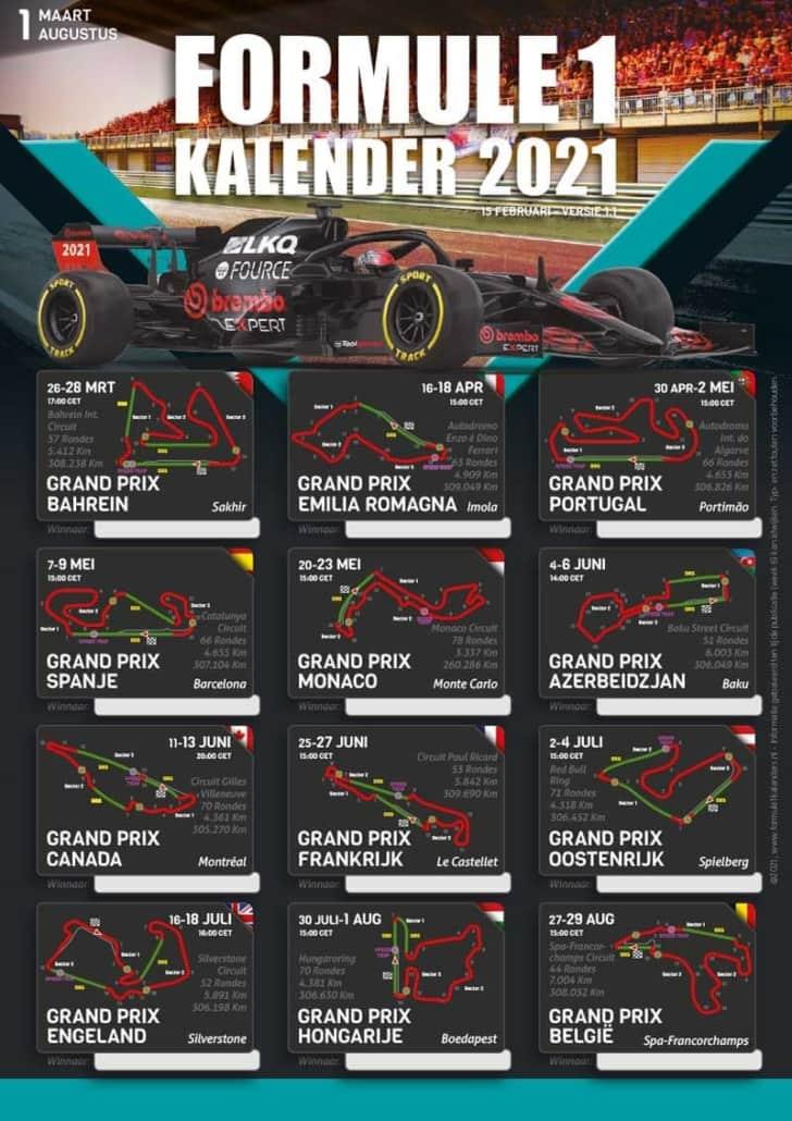F1-schedule 2021